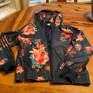 Adidas NEO floral  windbreaker jacket  almost new ! Size L